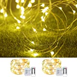 Cosumina 2 Pack 33Ft 10M Battery Powered Fairy Lights Indoor String Light Twinkle Lights with Remote for Wedding Garden Party