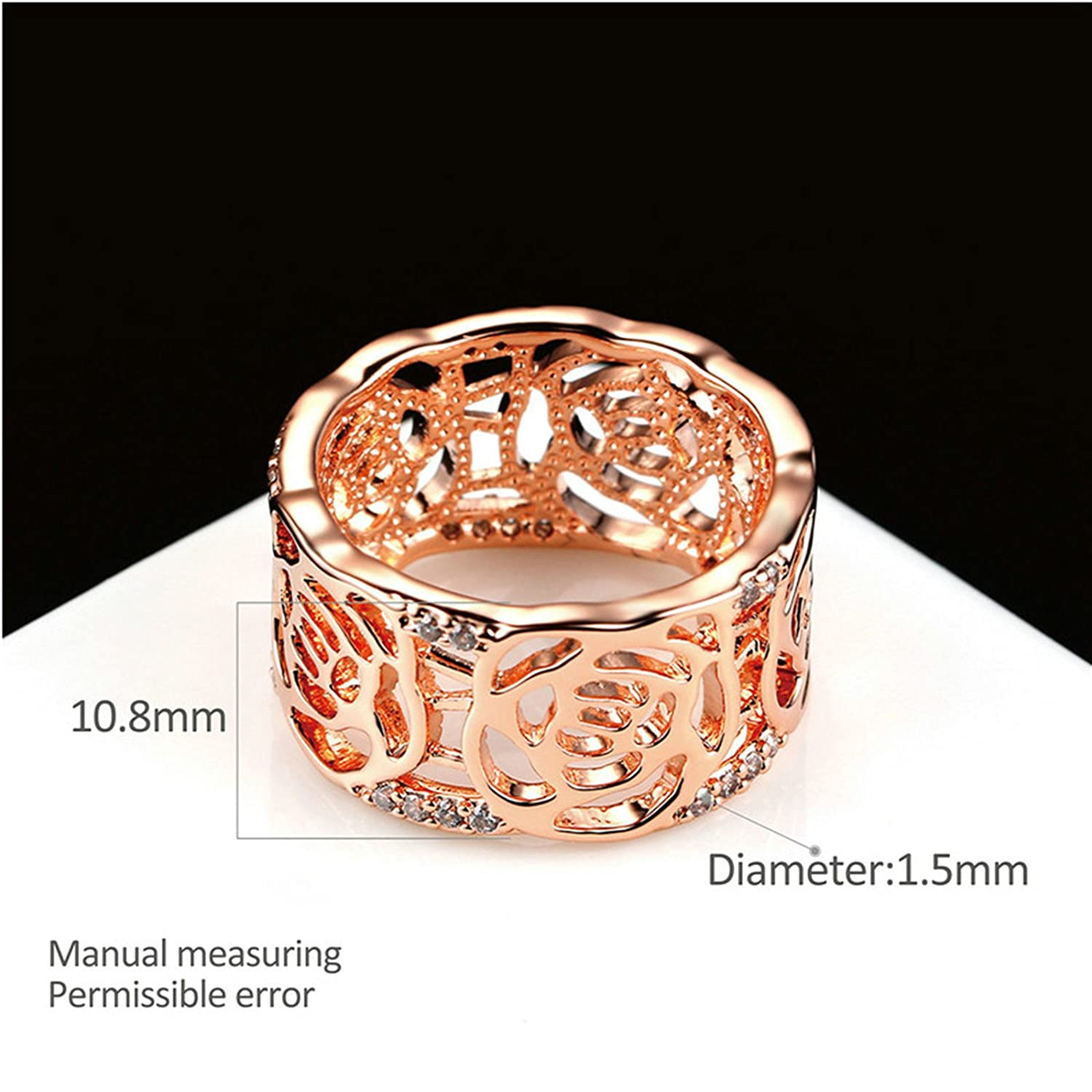 AMDXD Jewelry Silver Plated Wedding Bands Women Promise Rings Hollowed Rose Ring