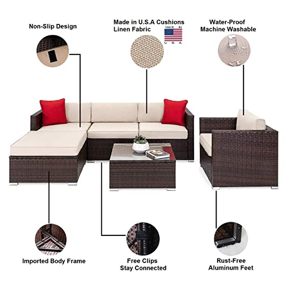Amazon.com: OAKVILLE FURNITURE Juego de 6 piezas de muebles ...