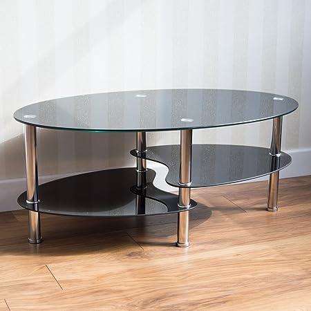 Vida Designs Cara Glass Coffee Table Black Oval Stainless Steel