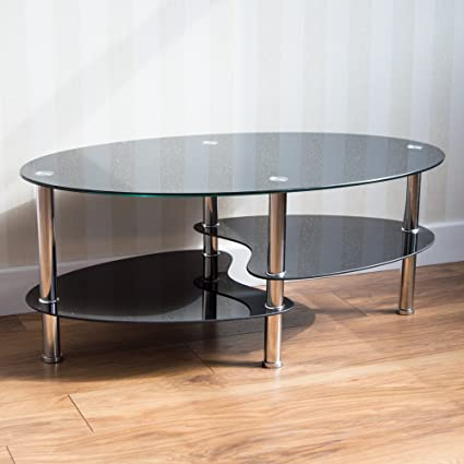 Home Discount Cara Black Glass Coffee Table With Stainless Steel
