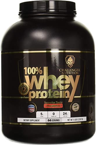 CHALLENGER NUTRITION -100 Whey Protein Powder. Strawberry – 5 Pound LBS. Best Tasting with 24g Protein per Serving. for Athletes, Bodybuilding, Muscle Building Faster Recovery