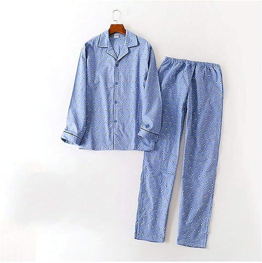 Pijama de primavera para hombre de talla grande, pijama informal para hombre, cuello abatible, camisa de pantalones, pijama de algodón cepillado B L: Amazon.es: Salud y cuidado personal