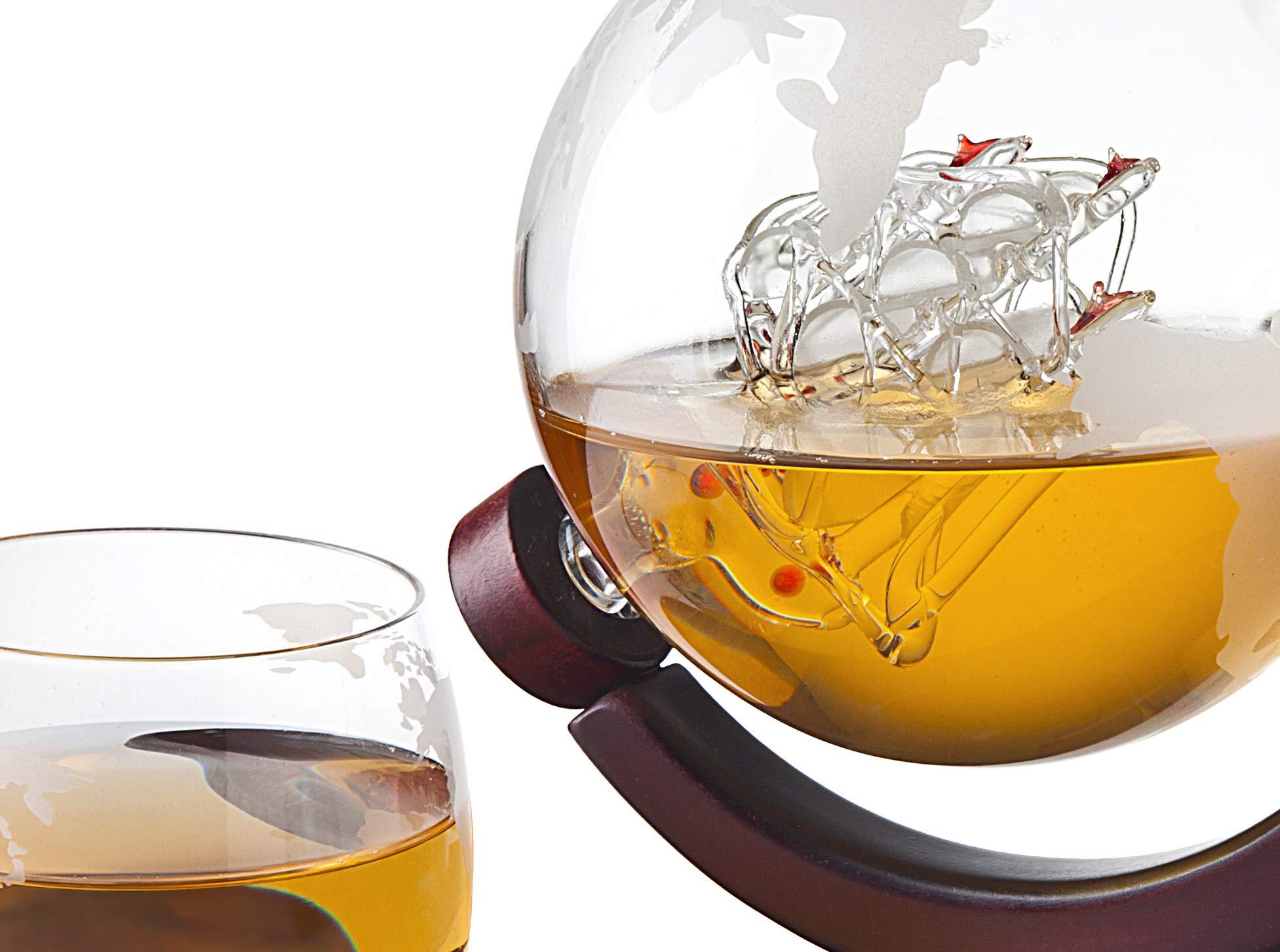 Whiskey Decanter Globe – for Liquor, Scotch, Bourbon, Vodka or Wine – 850ml