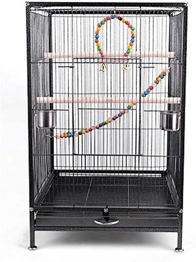 Jaula dpájaros duradera y ecológica, Jaula de pájaros 75 cm Extra grande jaula de pájaros metal jaula de aves de viaje para cacatúa / loro / lovebird / pájaro pájaro aviario con poste de poste y escal
