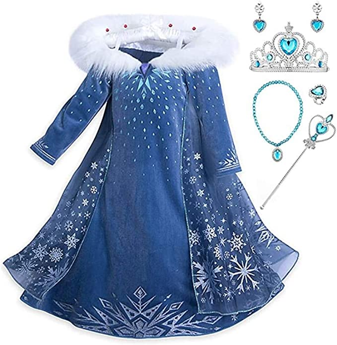 Halloween Damen Eiskönigin Prinze Elsa Kostüm Cosplay Party Abendkleid Outfit