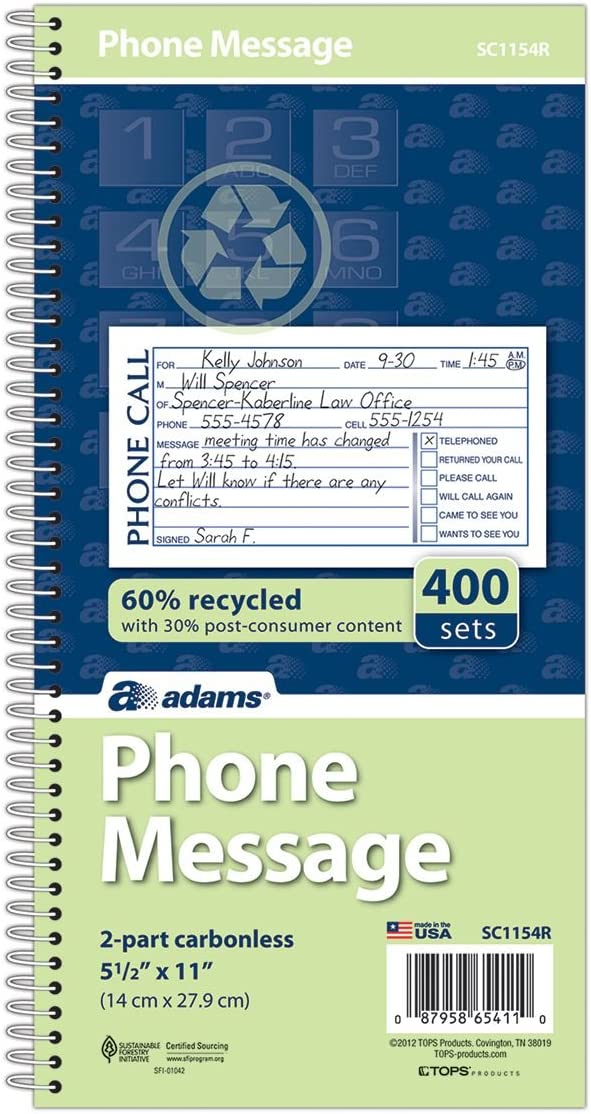 Adams Recycled Phone Message Book, 2-Part Carbonless, 4 Messages per Page, 400 Sets/Book (SC1154R)