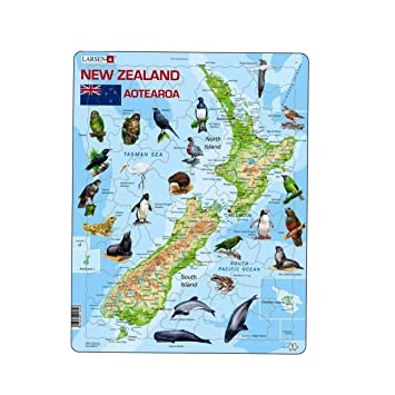 Larsen A New Zealand Physical Map With Animals Puzzle Amazon - New zealand physical map