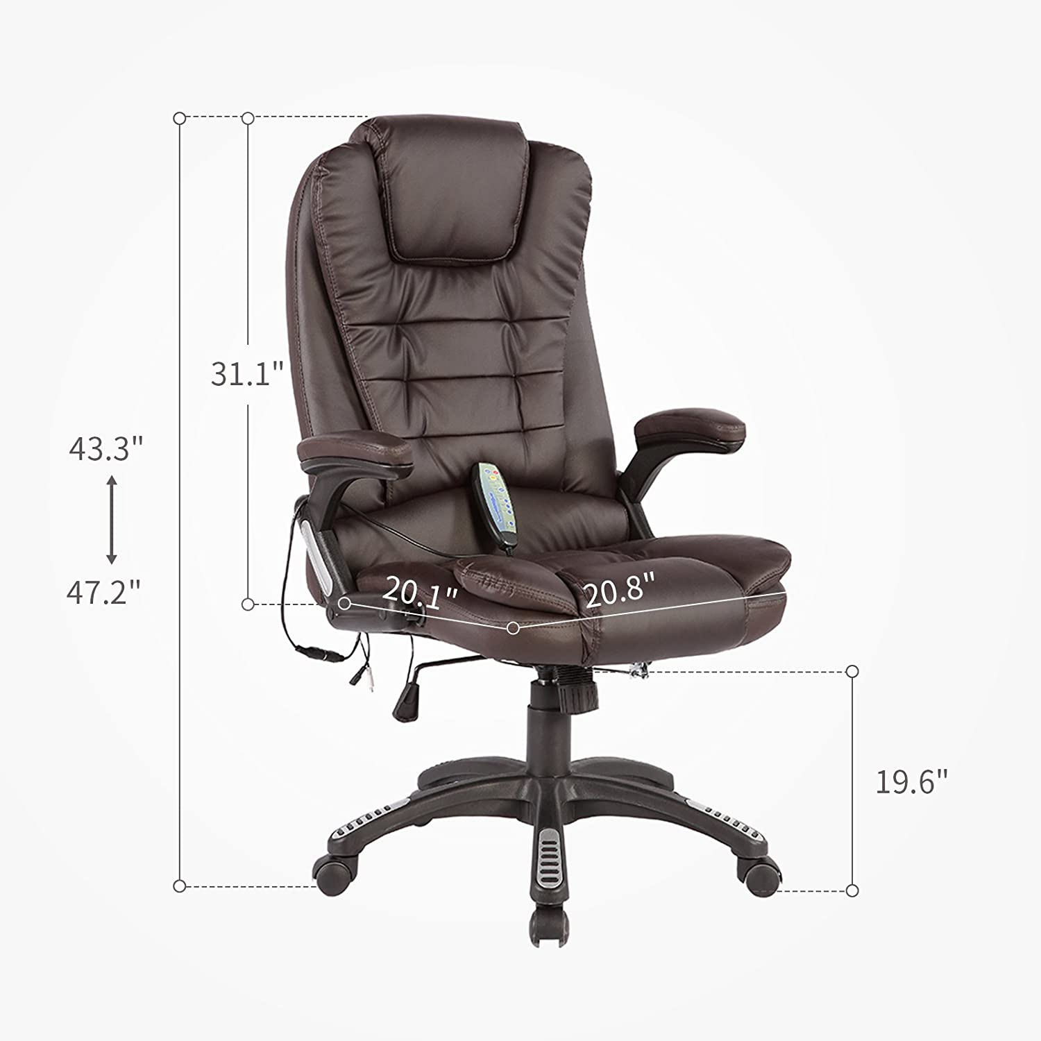 Murtisol Massage Gaming Chair Ergonomic Leather Office Chair Heated/Executive/ Adjustable High Back Brown