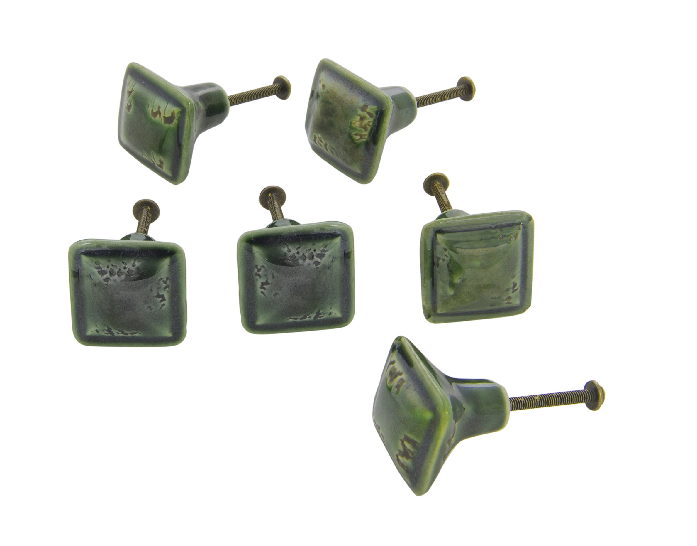 Dritz Home 47038A Ceramic Distressed Square Knob Handcrafted Knobs for Cabinets & Drawers