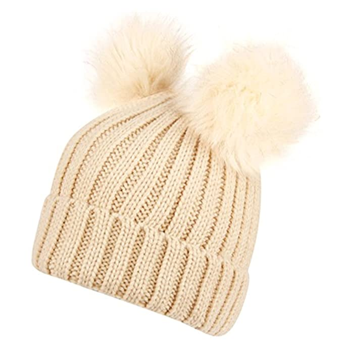 33dcf5c96 ANGELA & WILLIAM Women's Winter Chunky Knit Beanie Hat With Double Faux Fur  Pom Pom Ears BN2382