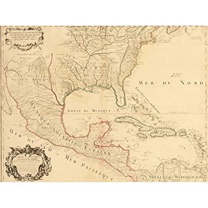 Amazon Com Wee Blue Coo Map Antique 1703 Mexico Caribbean Islands