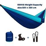 XL Parachutes Hamac Camping Portable dans un sac utilisé pour la randonnée, les voyages, ½ tonne de très grande capacité(320 x 200 cm), léger, séchage rapide lit double 2 personnes sangles d'arbres hamac, mousquetons, ancres et corde