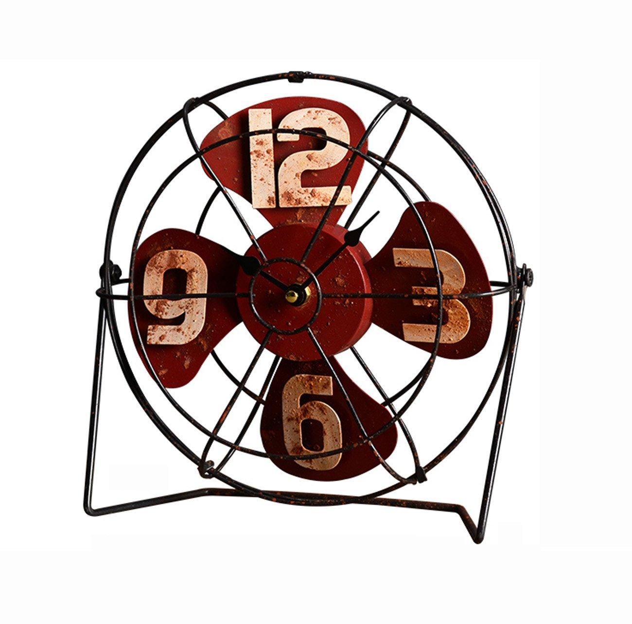 クロック 古い鉄のファンモデルクロック、アメリカンスタイルのレトロ装飾テーブルクロック、パーソナライズされたバーカフェ装飾棚の時計(26 * 9 * 27センチメートル) ウォールオーナメント (色 : 赤) B07F5TBXMN赤
