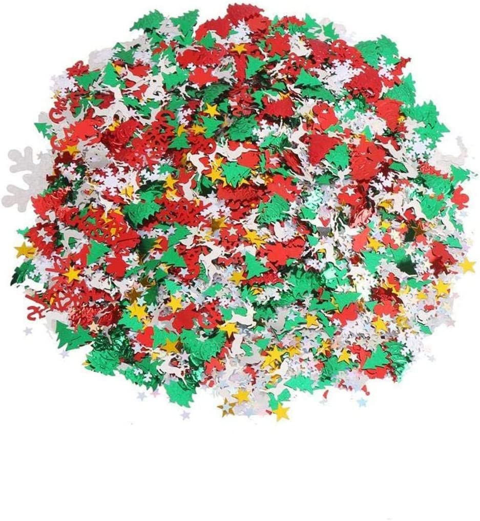 Haiabei 200g/11600 Pcs Christmas Confetti Glitter Cake Table Scatters Confetti Shimmer Snowflake,Santa,Merry Christmas Alphabet,Elk Table Confetti Bright Sequins Sprinkle Christmas Holiday Party Decor