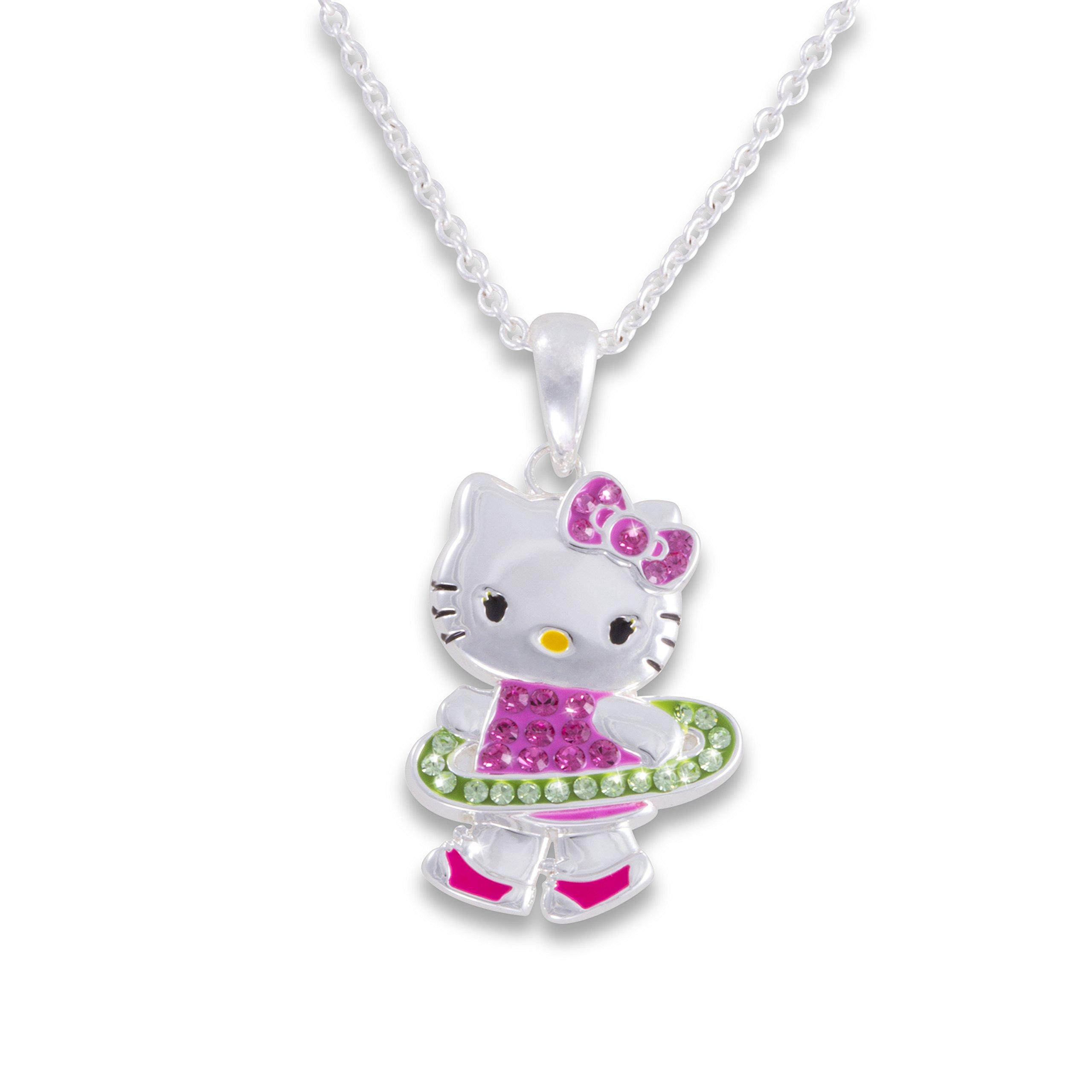 Hello Kitty Girls Silver Plated Crystal Hula Hoop Pendant, 18''
