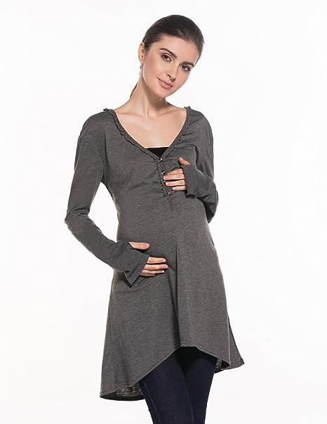 BYD Mujeres Premamá Camisa de vestir Suelto Blusas de Maternidad Lactancia Tunica Camisetas Manga Larga Tops