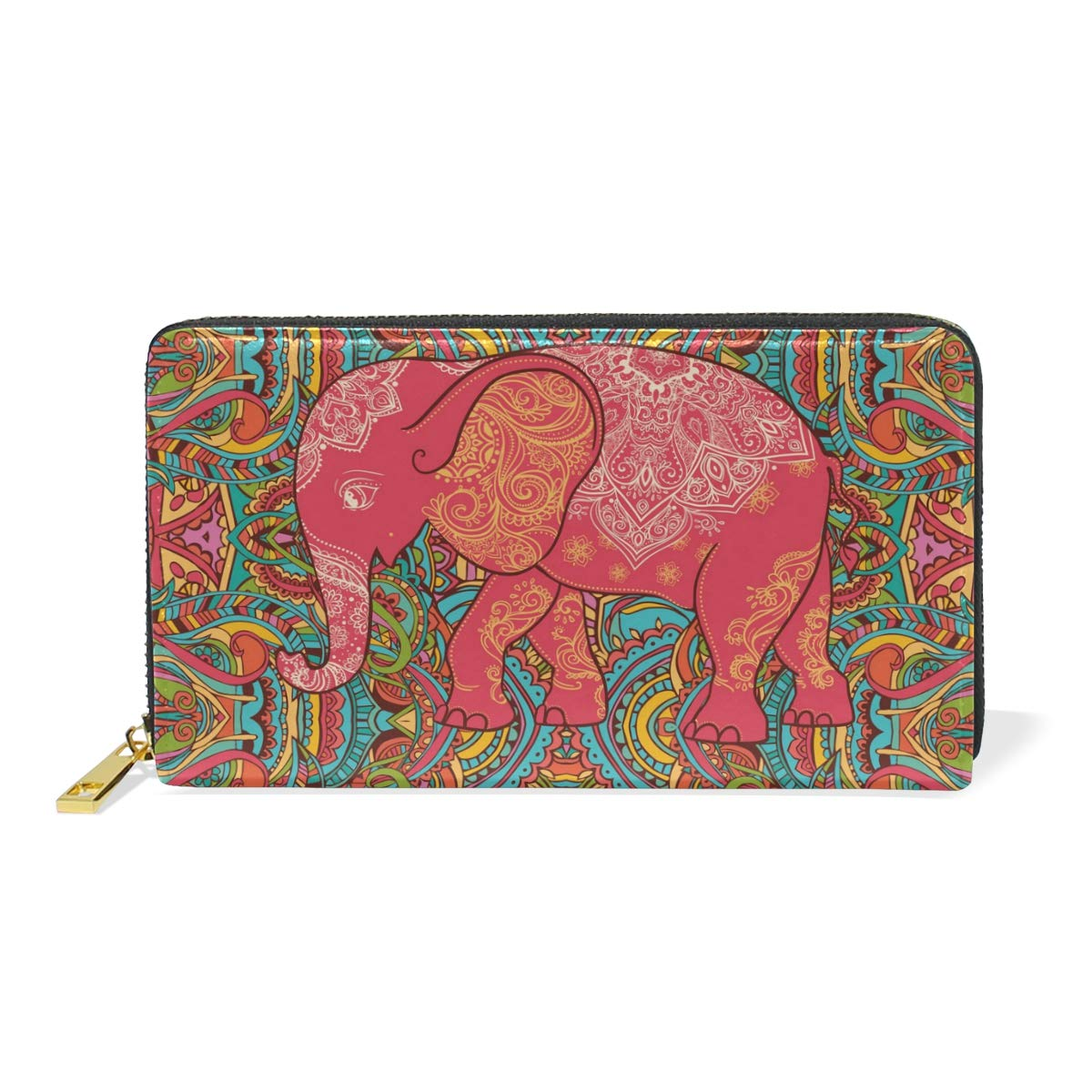 color3 Genuine Leather Womens Around Zip Wallet Elephant colorful Purse Clutch Card Holder for Girl