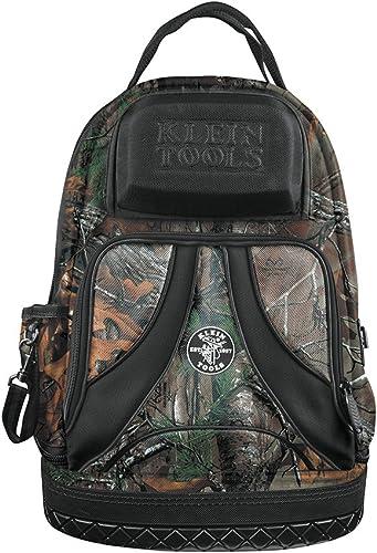 Klein Tools 55421BP14CAMO Tool Bag Backpack, Heavy Duty Tradesman Pro Tool Organizer Tool Carrier has 39 Pockets, Molded Base, Camo Design