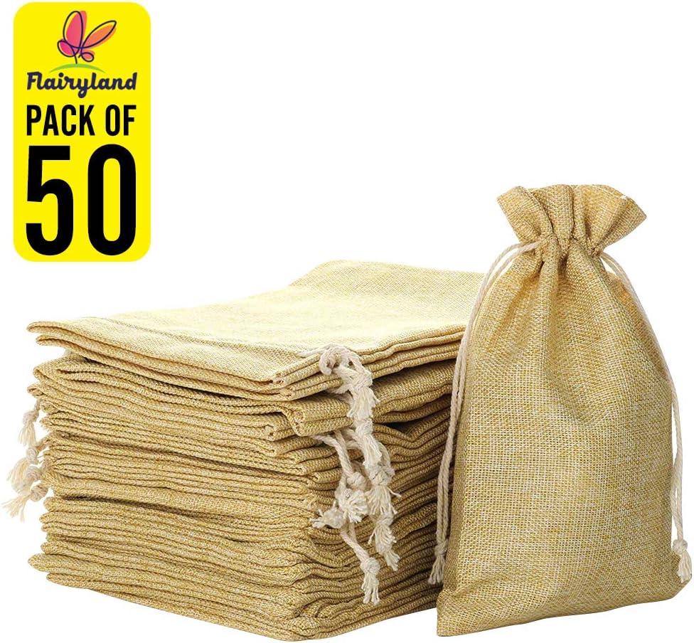 FLAIRYLAND 50pcs 4.7 x 7.5 inch Linen Burlap Bags