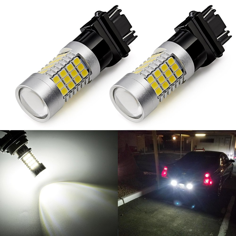 ENDPAGE 3157 3156 3057 3056 4157 LED Bulbs 2-pack, Xenon White 6000K, Extremely Bright, 54-SMD with Projector Lens, 12-24V, for Reverse Backup Lights, Tail Brake Lights, Turn Signal Lights
