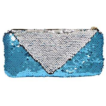 11824751cd65 ICOSY Sequin Makeup Pouch Bag Mermaid Cosmetic Bag Reversible Sequin Pencil  Case Glitter Handbag...