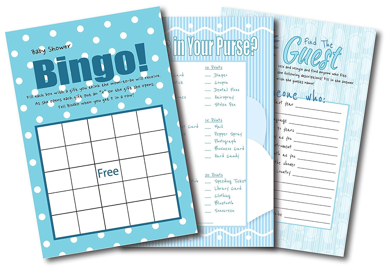 Baby Shower Games For Boys | By L&P Designs | Blue Baby Boy Party Ideas (Find The Guest, What's In Your Purse and Bingo)