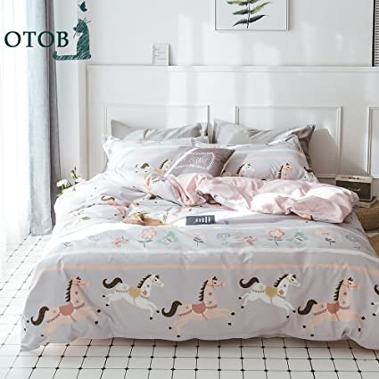 ORoa Pink Girls Twin Bedding Sets Cartoon Animal Horse Butterfly Print  Duvet Cover Twin Size Cotton