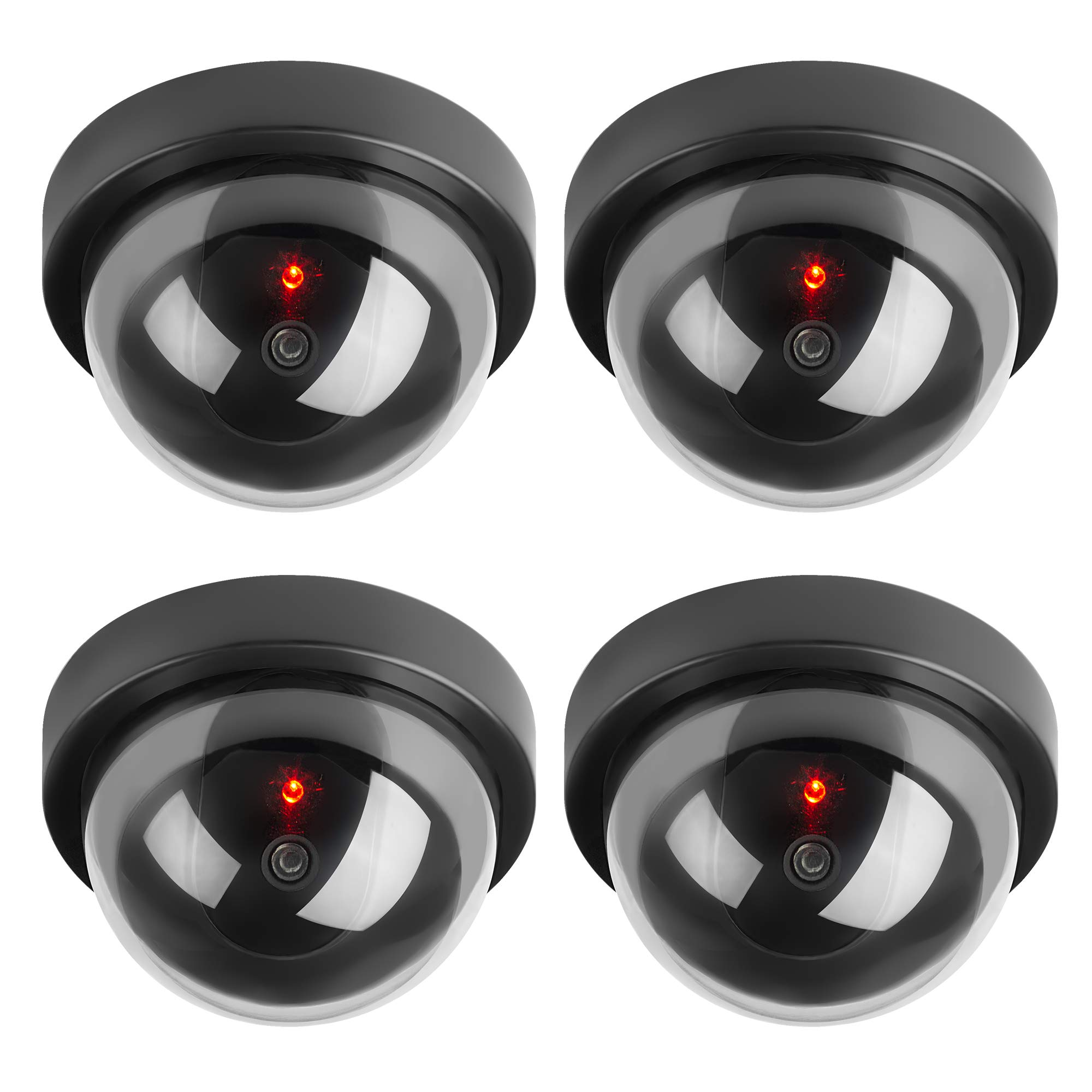 TOROTON Dummy Fake Security CCTV Dome Camera Simulation Monitor with LED Flashing Light, Outdoor and Indoor Use for Homes & Business, 4 Pack by TOROTON