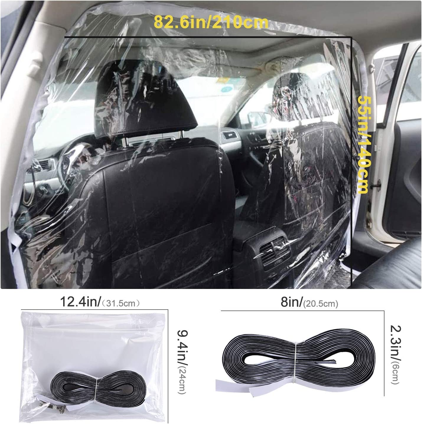 Funmo Taxi transparent Isolationsfolie Autoschutz f/ür Fahrer Transparente Tropfschutzfolie Spuckschutz Trennwand F/ür Auto