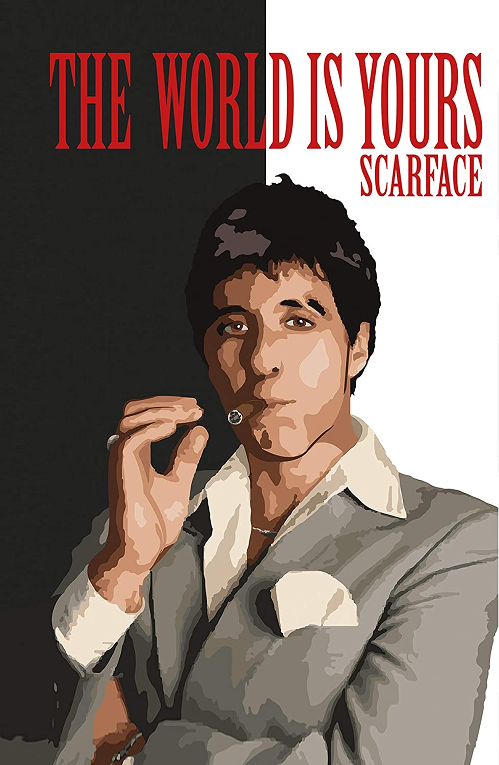 Scarface Al Pacino Large Poster Art Print Black /& White in Card or Canvas