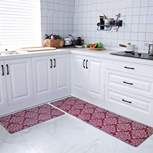 COSY HOMEER 59x18 Inch/30X18 Inch Cushioned Anti-Fatigue Kitchen Rug, 2 Pieces PVC Ergonomic Comfort Standing Foam Mats,Waterproof Non-Slip Kitchen Mats and Rugs for Floor Home Sink,RED