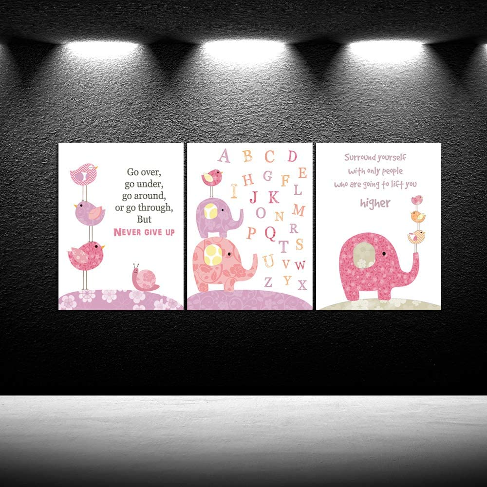 iKNOW FOTO Lovely Cartoon Animals Canvas Prints Pink Elephant and Birds Alphabet Letter for Baby Canvas Quotes Picture Frames Wall Art Nursery Canvas Print for Baby's Room Girl's Room