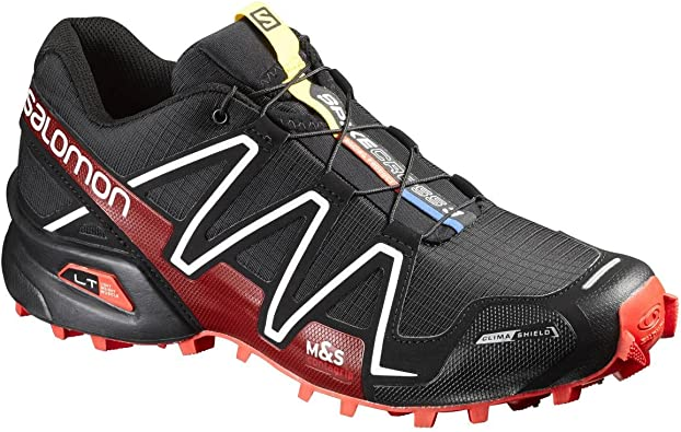 Salomon L38315400, Zapatillas de Trail Running Unisex Adulto, Negro (Black/Radiant Red/White), 42 2/3 EU: Amazon.es: Zapatos y complementos