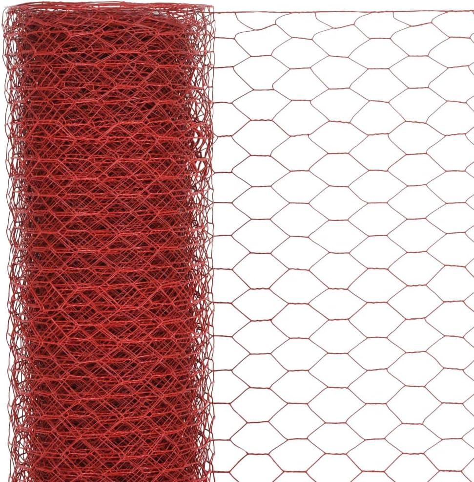Grillage Cloture Cloture Jardin Acier avec Rev/êtement en PVC 25 x 1,2 m Hexagonal Rouge Grillage Animaux Tidyard Grillage Acier Grillage a Poule