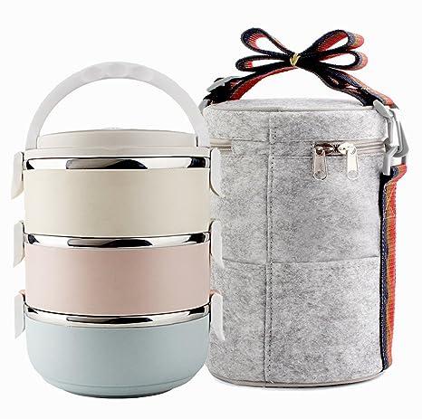 Fiambrera de acero inoxidable, cajas de almacenamiento para oficinas, contenedores para almuerzo envasados al vacío para almuerzos campestres (3 ...