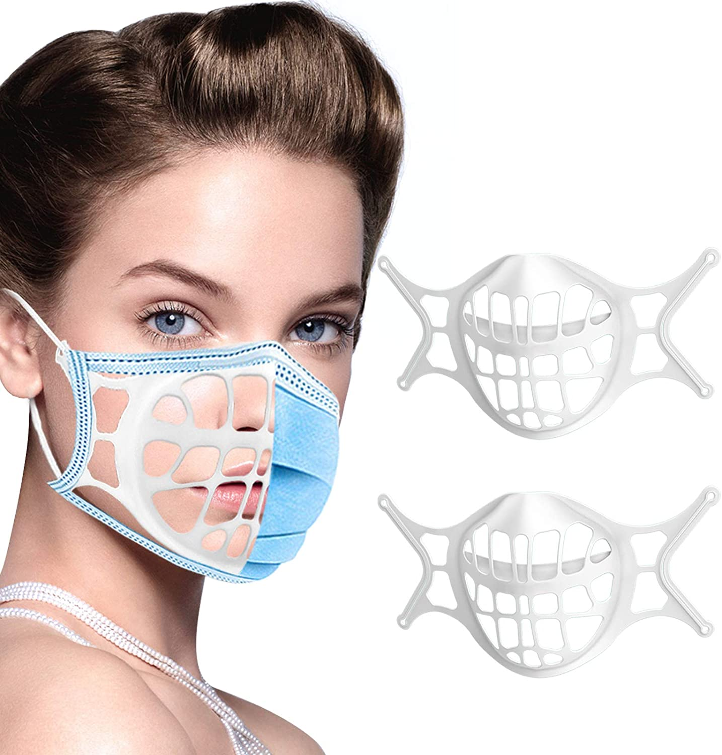 3D Mask Bracket -Silicone Face Mask Bracket-3D Mask Bracket Inner Support Frame for More Breathing Space,Keep Fabric off Mouth,Cool Lipstick Protection Stand,Reusable&Washable (2PCS-WHITE)