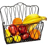 Amazon.com: MyGift Wall Mounted Decorative Scrollwork Design Black Metal Wire Fruit Basket/Home