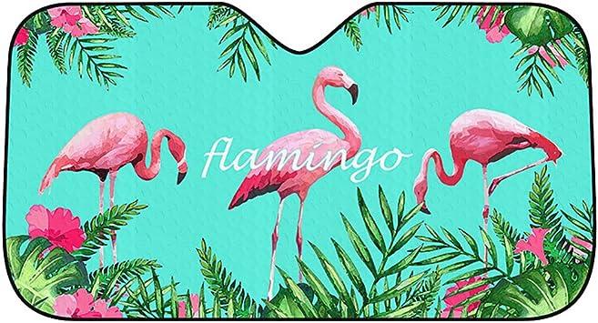 Zooenie Auto Sonnenschutz Windschutzscheibe Sonnenschirm Cars Universal Frontscheibe Sonnenblende Uv Schutz Schattenspender Visier Hält Das Auto Kühler Um Bis Zu 50 Flamingo Auto