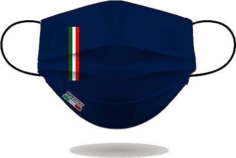 Mascherina per viso con elastici, lavabile e sterilizzabile, unisex, made in italy (blu navy) B089X9M5RD