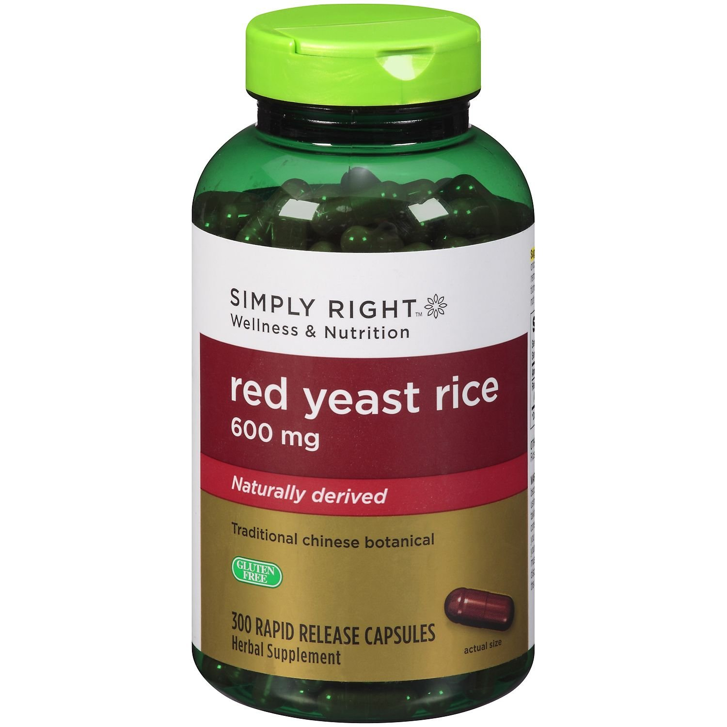 Simply Right Red Yeast Rice 600 mg Rapid Release, Naturally Derived (300 capsules)