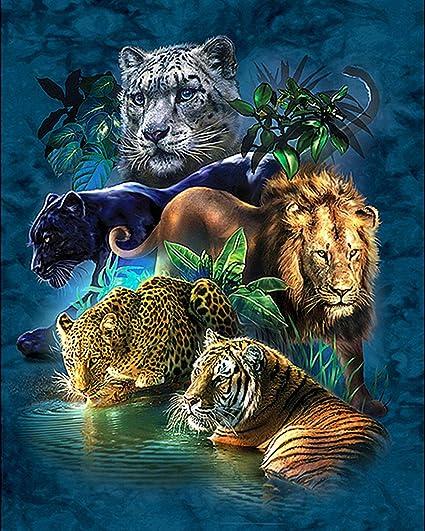 Diamond Cross Stitch Round 5D DIY Tiger Lion Leopard Gorgeous Embroidery Art