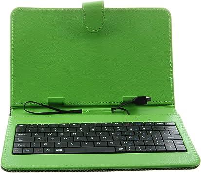 SODIAL (R) Verde cubierta de la caja para teclado soporte de 7 pulgadas Micro USB Tablet MID