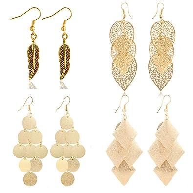 68d69cb4c Bohemian Vintage Statement Tassel Healing Crystal Tribal Charm Multicolored  Stud and Dangle Hoop Earring Set for