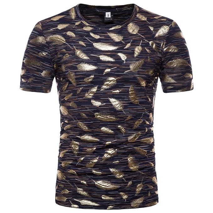 Camisetas Hombre con Estampado De Pluma Personalidad LHWY, Camisetas De Cuello Redondo Manga Corta Casuales