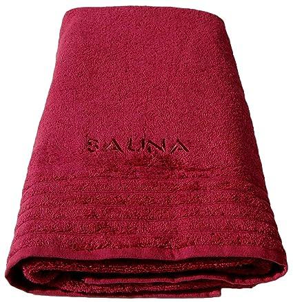 Wellness Sauna toalla de baño rojo, XXL para sauna bordada con 80 x 200 cm
