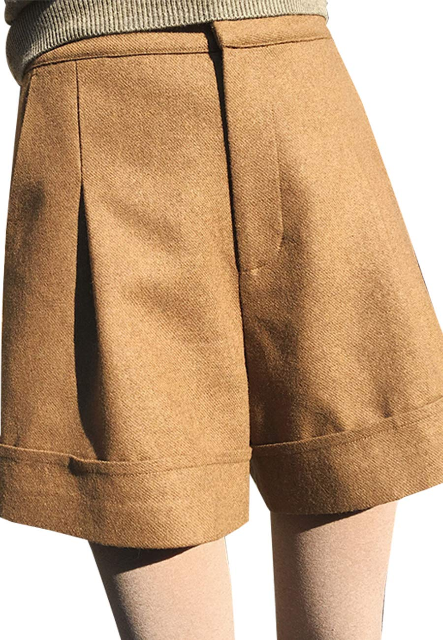 Ecupper Womens Winter Woolen High Waist Loose Comfy Wide Leg Casual Shorts Khaki M