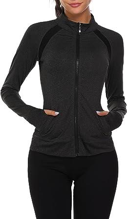 Parabler Laufjacke Damen Sportjacke Trainingsjacke voll Reißverschluss Trainingsanzug mit Daumenloch und Seitentasche Fitness