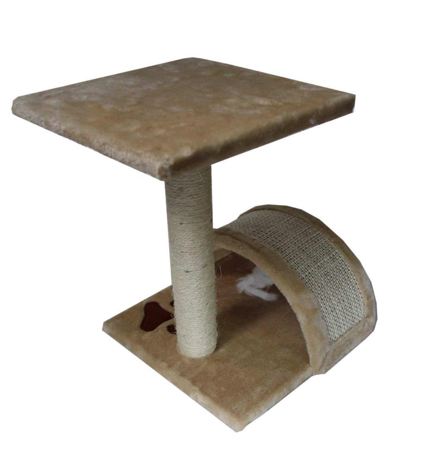 15'' High Small Cat Tree Sisal Scratching Post Furniture Playhouse Pet Bed Kitten Toy Cat Tower Condo for Kittens (Beige) by HIDING