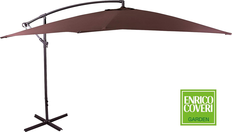 Enrico Coveri Ombrellone Beige da Esterno e Giardino 3x3 MT Con Palo Laterale Perfetto per Giardino e Terrazze